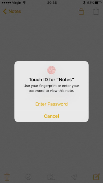 Notes- Touch ID