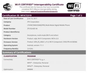 ZTE Blade A6 WiFi certification
