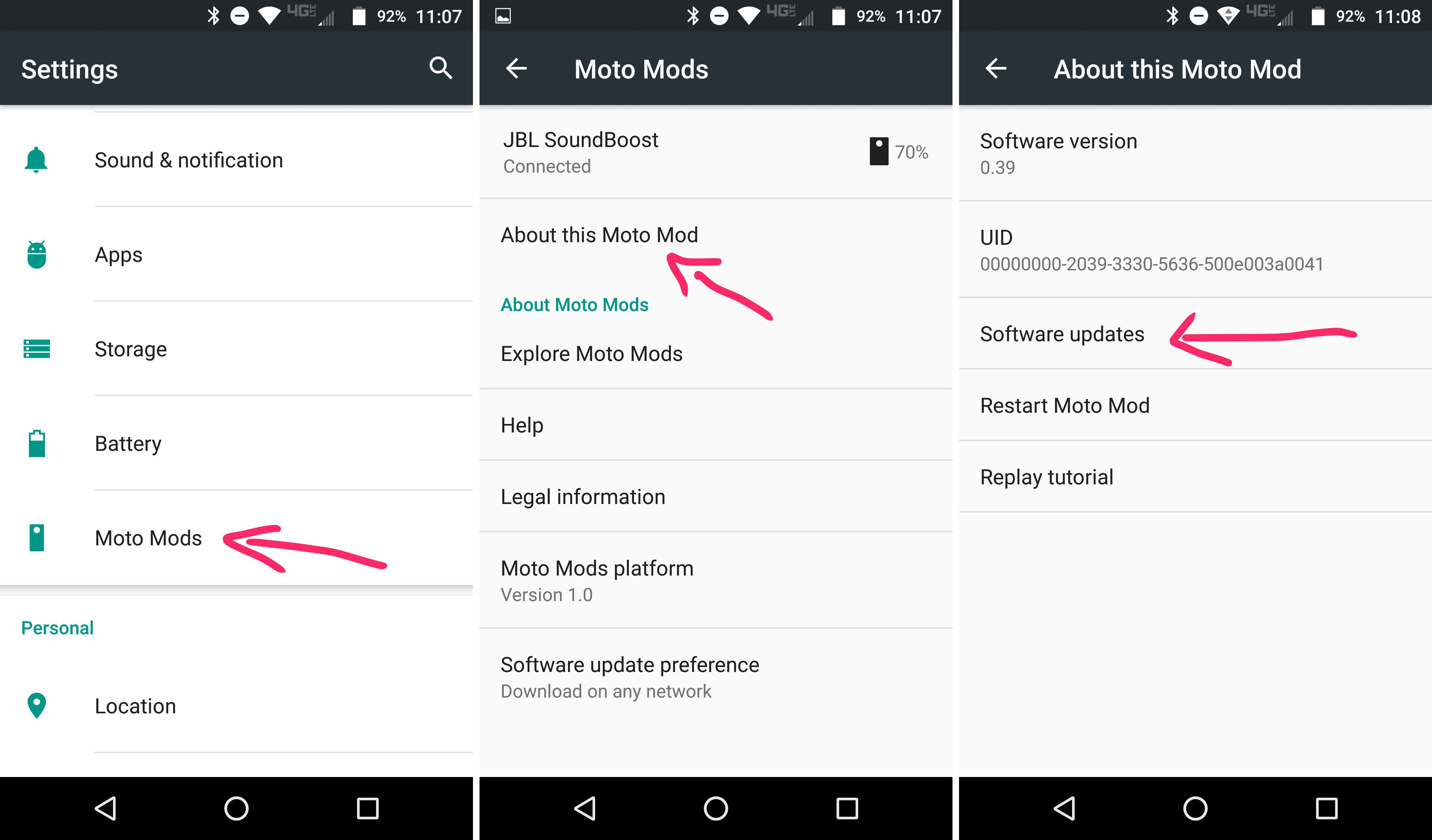 check software update moto mods