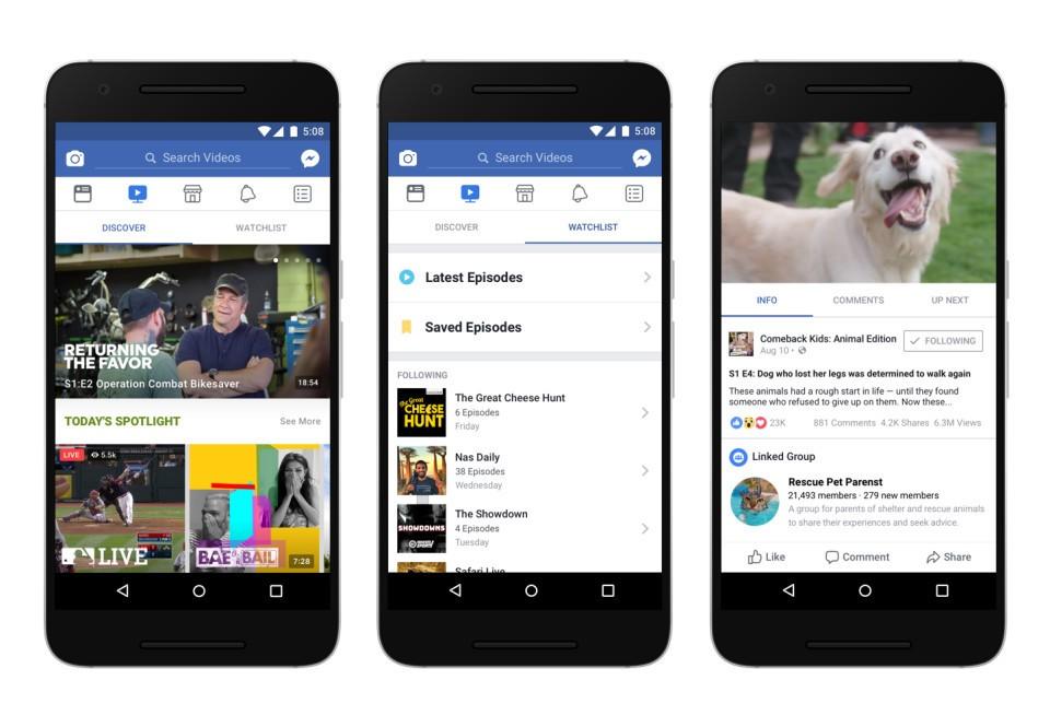 شركة فيسبوك تحاول منافسة اليتيوب من خلال خدمة Watch لبث الفيديوهات