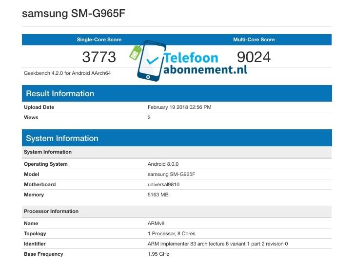 هاتف سامسونج +Galaxy S9 يحقق رقمًا قياسيًا في إختبارات منصة Geekbench