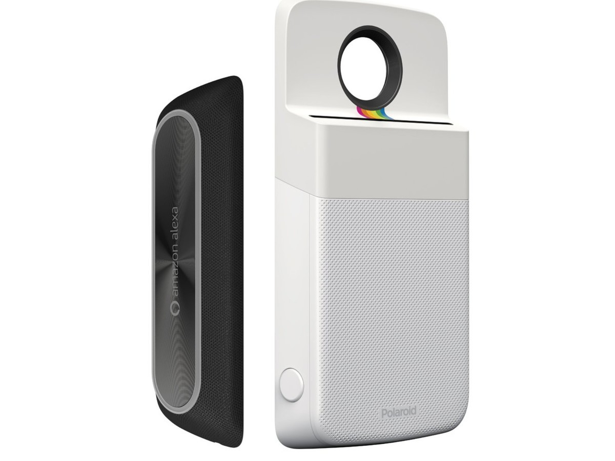 Alexa speaker and Polaroid printer Moto Mods