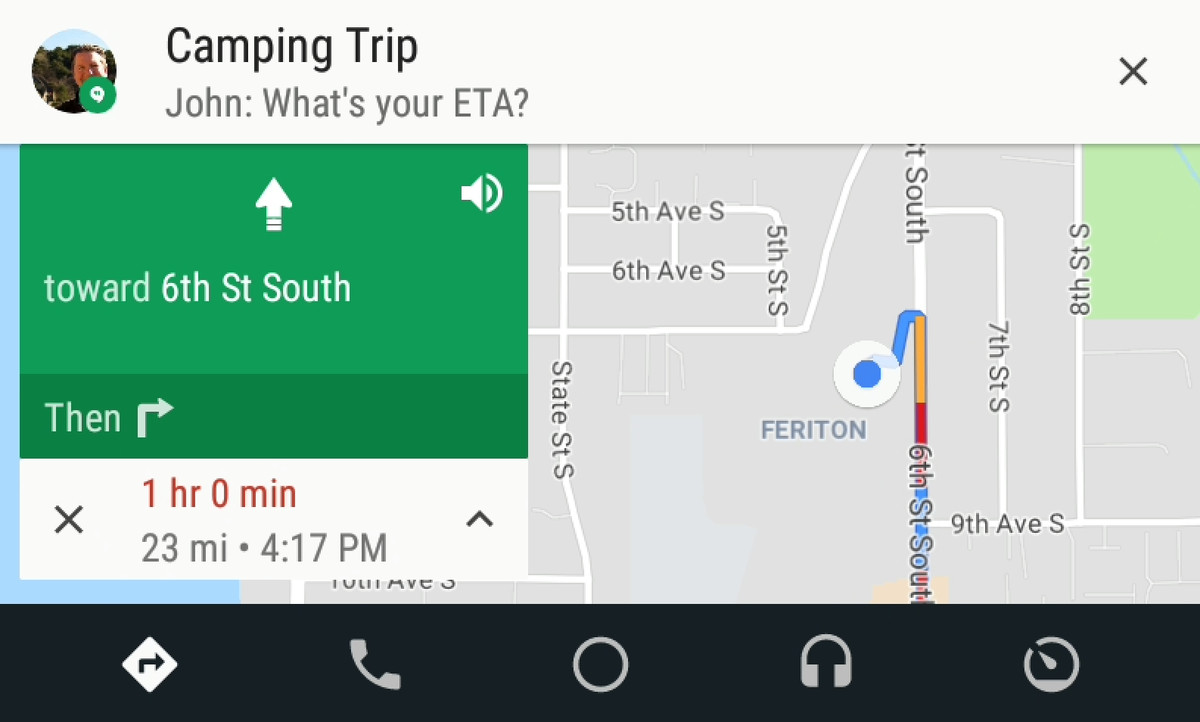Android Auto update-messaging