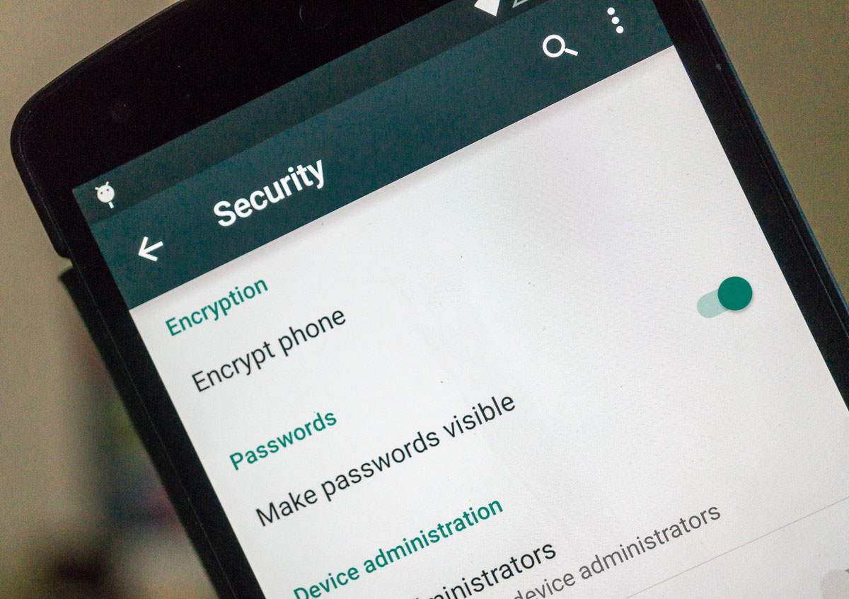 Android encryption settings