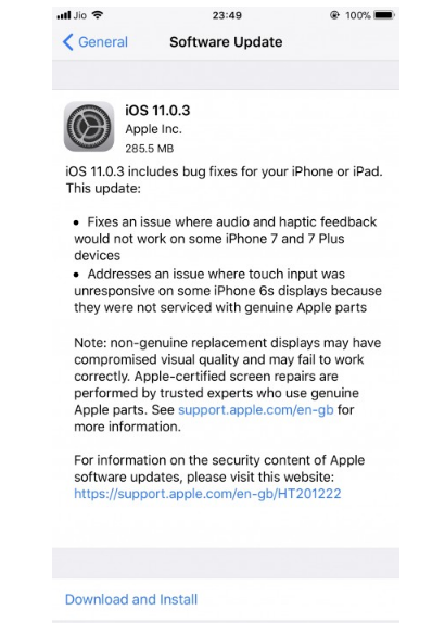 Apple releases iOS 11.0.3 update