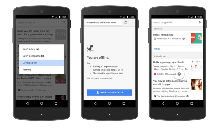 Chrome for Android with improved offline features
