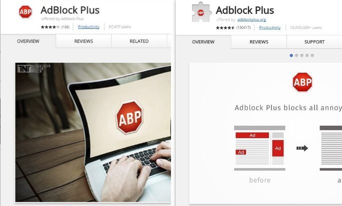 Fake Adblock Plus Chrome extension