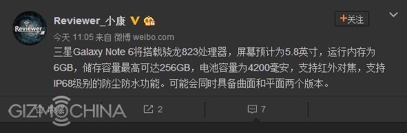 Galaxy Note 6 -leak- 256GB