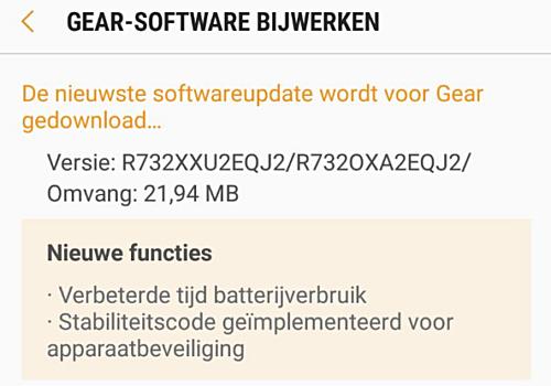 Gear S2 update