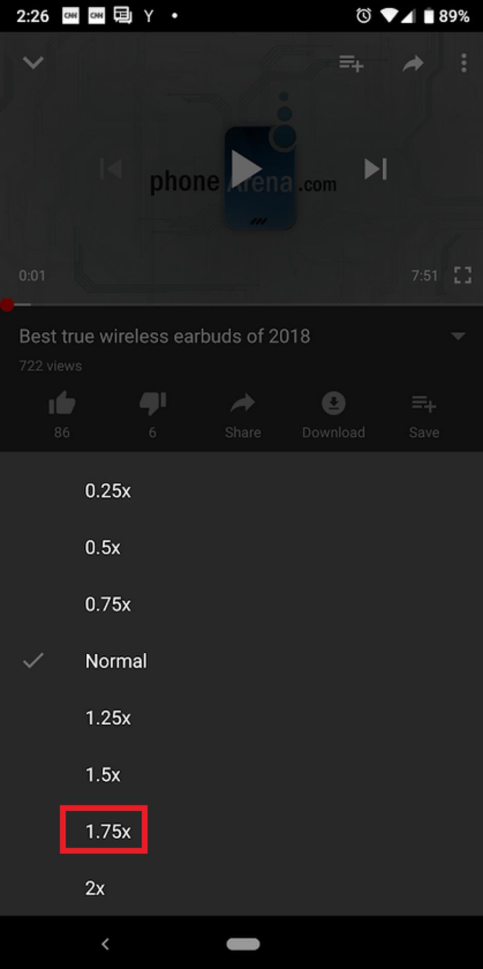 Google- adds 1.75X -playback speed