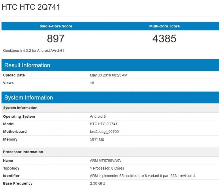 HTC device appears in GeekBench