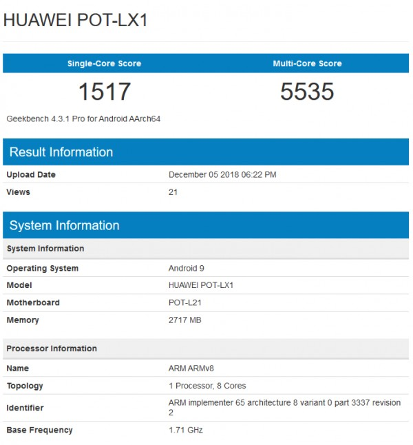 Huawei-P Smart-2019 -GeekBench-leak