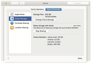 Improved family sharing and shared iCloud storage