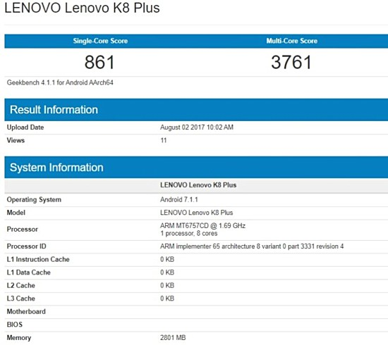 Lenovo K8 Plus spotted on Geekbench