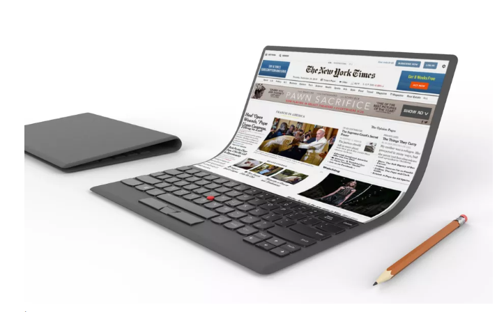 Lenovo shows off an absurd laptop concept with a flexible screen