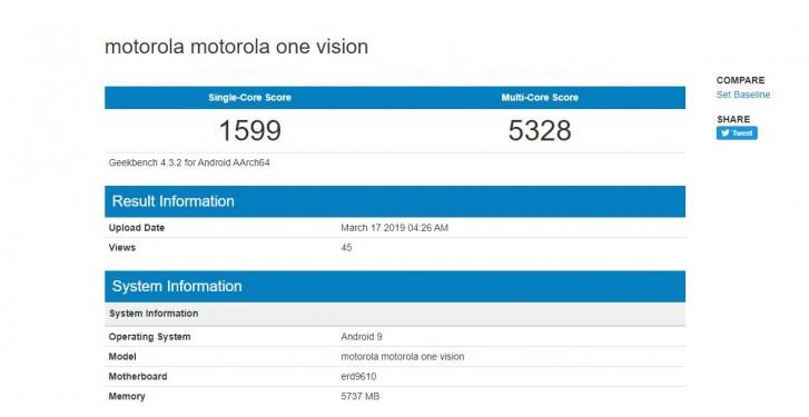 Motorola Vision Geekbench leak