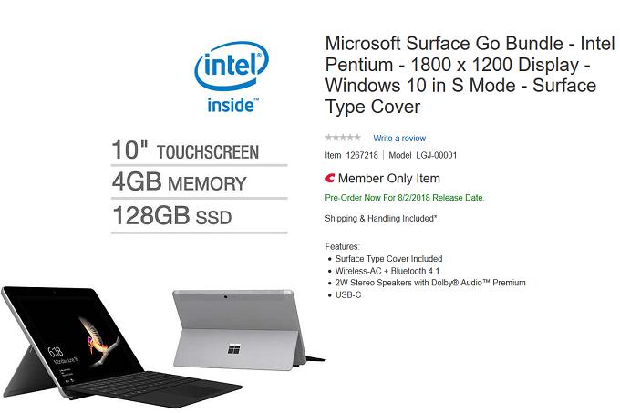 طراز غير معلن من اللوحي Surface Go يظهر على Costco
