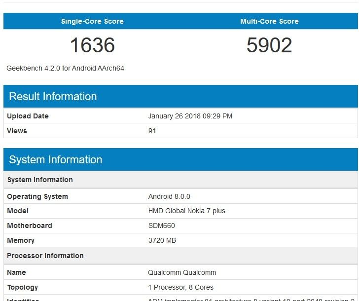 Nokia 7 Plus spotted in GeekBench listing