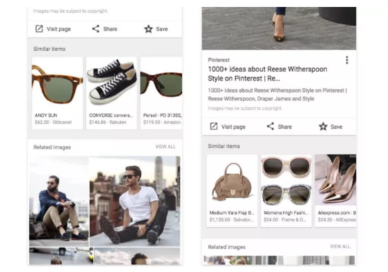 Pinterest-like shoppable photos in image search