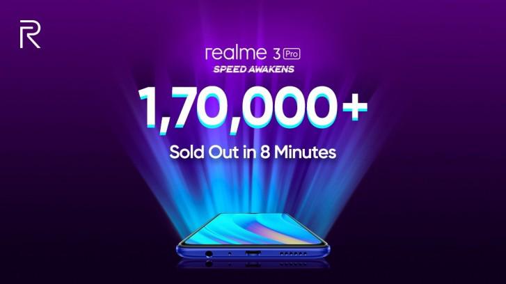 Realme تعلن عن بيع 170000 وحدة من هاتف Realme 3 Pro في 8 دقائق فقط
