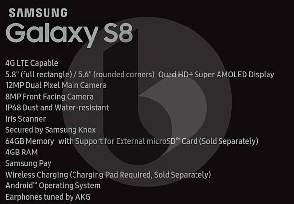 Samsung Galaxy S8- specs