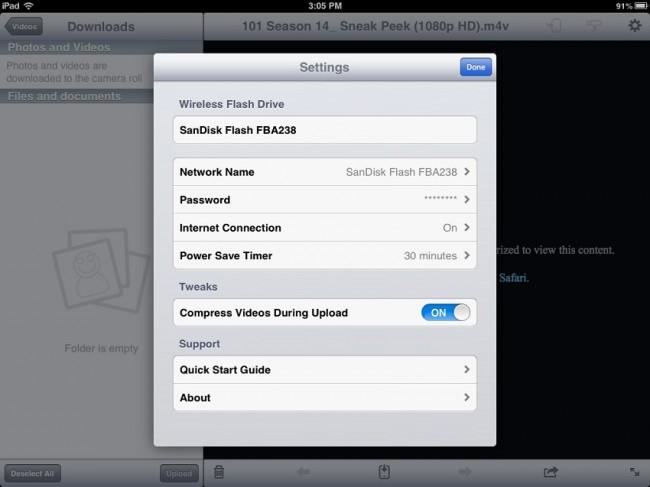 SanDisk settings