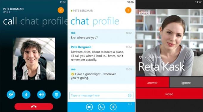 Skype Video Messages Screens