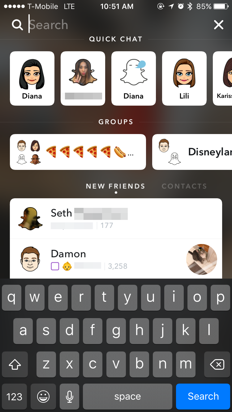 Snapchat -user interface