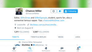 Twitter updated profile design on iOS