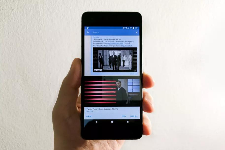 YouTube playing inside the Telegram messaging app