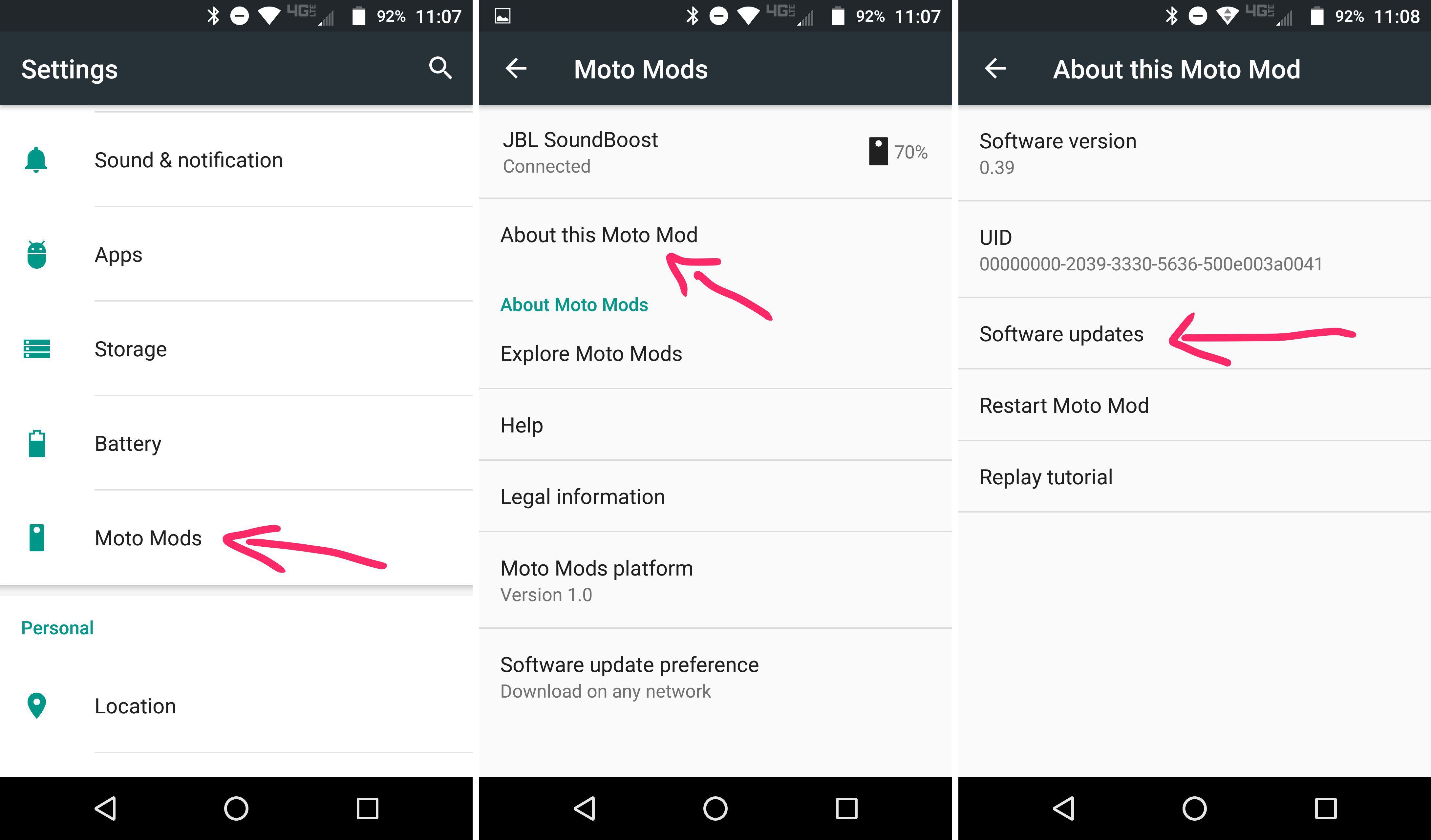 check software update moto mods