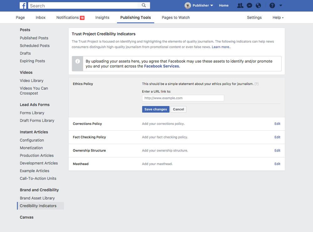 +facebook trust indicators fake news trust project