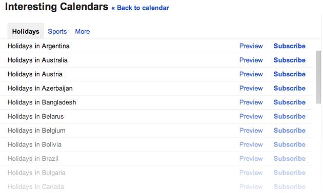 google-holiday-calendars
