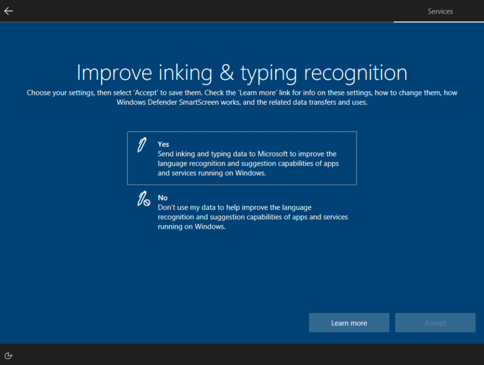 improve inking and typing recognition