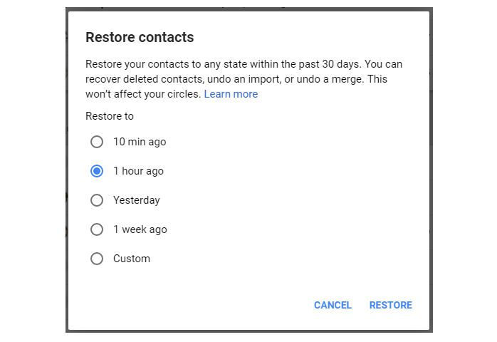 restore deleted Google contacts