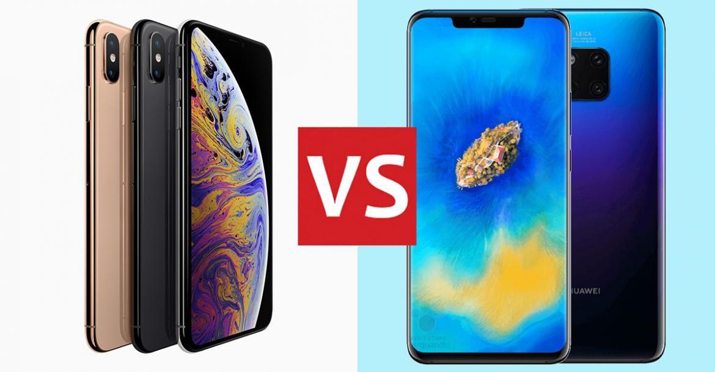 مقارنة بين هاتف آيفون XS Max وهاتف هواوي Mate 20 Pro